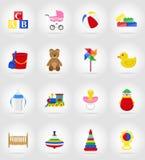 Le icone piane dei giocattoli e degli accessori del bambino vector l'illustrazione Fotografia Stock Libera da Diritti