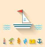 Le icone piane dell'insieme delle feste di crociera ed il viaggio vacation Immagine Stock Libera da Diritti