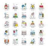 Le icone piane della consegna di logistica imballano illustrazione di stock