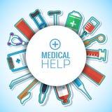 Le icone piane della medicina hanno fissato il concetto Vettore Immagine Stock