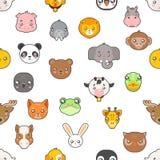Le icone piane della testa di progettazione del bambino degli animali isolate modello senza cuciture dei cuccioli svegli del fume illustrazione di stock