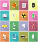 Le icone piane delle icone piane di energia e di potere vector l'illustrazione Fotografie Stock Libere da Diritti