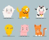 Le icone piane di progettazione del fumetto sveglio degli animali da allevamento hanno messo l'illustrazione di vettore del carat Immagini Stock Libere da Diritti