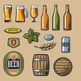 Le icone piane di vettore della birra hanno messo la bottiglia, il vetro, il barilotto, pinta royalty illustrazione gratis