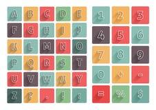 Le icone piane di A-Z dell'alfabeto hanno messo con ombra lunga illustrazione vettoriale