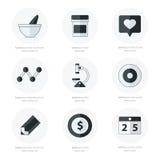 Le icone piane hanno messo degli strumenti medici e della sanità in bianco e nero Fotografia Stock Libera da Diritti
