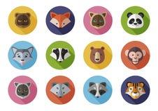 Le icone piane mettono di selvaggio e si dirige gli animali fotografia stock libera da diritti