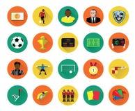 Le icone piane moderne di calcio hanno messo con effetto ombra lungo Immagini Stock