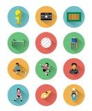 Le icone piane moderne di pallavolo hanno messo con effetto ombra lungo Fotografia Stock