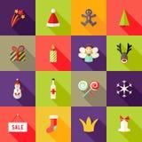Le icone piane quadrate di Natale hanno messo 3 Fotografie Stock Libere da Diritti