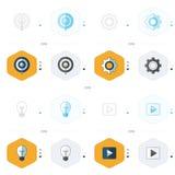 Le icone progettano 4 stili giocano, si accendono, le regolazioni ed icona dell'obiettivo Fotografia Stock Libera da Diritti