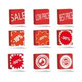 Le icone quadrate di vendita hanno impostato Immagini Stock