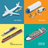 Le icone realistiche logistiche hanno messo delle merci aviotrasportate, trasportando, trasporto di ferrovia Fotografia Stock