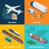 Le icone realistiche logistiche hanno messo delle merci aviotrasportate, trasportando, trasporto di ferrovia, trasporto del merit Fotografie Stock Libere da Diritti