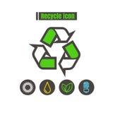 Le icone riciclano la linea variopinta il nero di vettore di progettazione sul backgro bianco Fotografie Stock Libere da Diritti