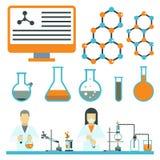 Le icone scientifiche di chimica di scienza di progettazione di biologia del laboratorio medico della prova di simboli del labora Fotografia Stock