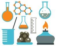 Le icone scientifiche di chimica di scienza di progettazione di biologia del laboratorio medico della prova di simboli del labora Fotografia Stock Libera da Diritti