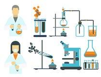 Le icone scientifiche di chimica di scienza di progettazione di biologia del laboratorio medico della prova di simboli del labora Fotografie Stock Libere da Diritti