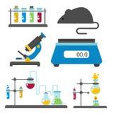Le icone scientifiche di chimica di scienza di biotecnologia di progettazione di biologia del laboratorio medico della prova di s illustrazione vettoriale
