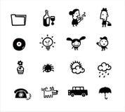 Le icone semplici in bianco e nero alloggiano l'accumulazione immagine stock libera da diritti
