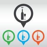 le icone si sono riferite a vino compreso la bottiglia di vino, vetro di vino, cavaturaccioli perno della mappa dell'icona Fotografia Stock Libera da Diritti
