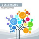 Le icone sociali di media dell'albero della tecnologia assottigliano la linea logo Fotografie Stock Libere da Diritti