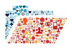 Le icone sociali di media hanno impostato la composizione nel dispositivo di piegatura Immagini Stock
