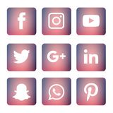 Le icone sociali di media hanno messo Logo Vector Illustrator royalty illustrazione gratis