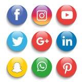 Le icone sociali di media hanno messo Logo Vector Illustrator illustrazione di stock