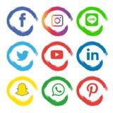 Le icone sociali di media hanno messo Logo Vector Illustrator illustrazione vettoriale