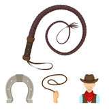 Le icone stabilite della raccolta del rodeo nello stile del fumetto vector il web di riserva dell'illustrazione di simbolo Fotografia Stock Libera da Diritti