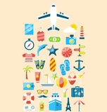 Le icone stabilite piane di progettazione moderna del viaggio in vacanza viaggiano Fotografie Stock