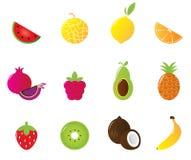 Le icone sugose della frutta hanno impostato isolato su bianco Immagine Stock Libera da Diritti