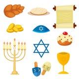 Le icone tradizionali di simboli della chiesa di giudaismo messe hanno isolato l'illustrazione di vettore