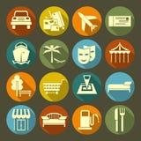 Le icone vacation e viaggiano sul piatto di colore Immagine Stock Libera da Diritti