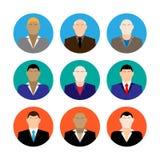 Le icone variopinte dei fronti del maschio di affari hanno messo nello stile piano d'avanguardia Fotografia Stock Libera da Diritti
