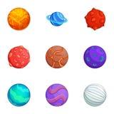 Le icone variopinte dei pianeti di fantasia hanno messo, stile del fumetto illustrazione di stock