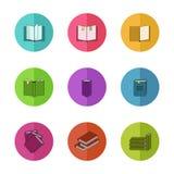 Le icone variopinte di istruzione hanno messo con la linea libri isolato Fotografia Stock Libera da Diritti