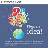 Le idee amichevoli di Eco fanno galleggiare un'idea Immagini Stock