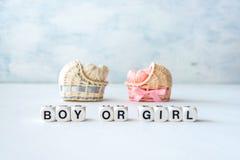 Le idee della doccia di bambino per una ragazza e un ragazzo fanno festa Decori rosa e blu fotografia stock