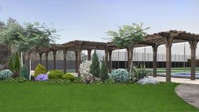 Le idee di progettazione del cortile, 3d rendono Immagine Stock Libera da Diritti