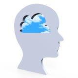 Le idee pensano la creatività e l'innovazione di pensieri di manifestazioni Immagine Stock