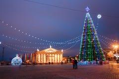 Le illuminazioni di Natale della città in piazza a Minsk centrale, sono Fotografia Stock Libera da Diritti