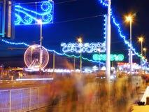 Le illuminazioni dorate di miglio a Blackpool Immagini Stock Libere da Diritti