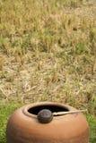 Le illustrazioni descrivono lo stile di vita degli agricoltori in Asia/risaie e grande barattolo di terra dell'acqua Immagine Stock