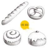 Le illustrazioni disegnate a mano degli articoli da panetteria di stile di schizzo hanno messo isolato su fondo bianco Ciambellin royalty illustrazione gratis