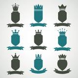 Le illustrazioni reali araldiche di blasone hanno messo - la decorazione a strisce imperiale illustrazione di stock