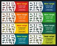 Le insegne di web hanno fissato la promozione delle macchine utensili Immagine Stock Libera da Diritti