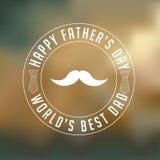 Le insegne felici dei baffi del giorno di padri progettano su fondo vago Immagine Stock