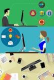 Le insegne online di affari hanno messo con il pagamento di attività bancarie online nello stile piano Immagini Stock
